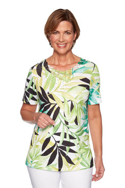 Image: Petite Tropical Leaves  Knit Top