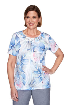 Image: Petite Tropical Leaves Short Sleeve Top