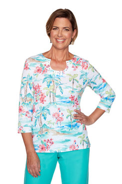 Image: Petite Tropical Print Top
