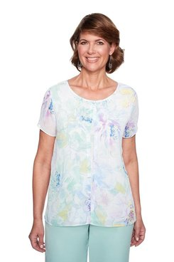 Image: Petite Water Color Floral Mix Media Top