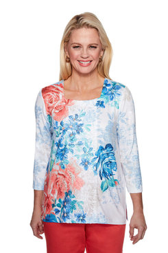 Image: Petite Watercolor Floral Lace Top