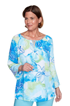 Image: Petite Watercolor Floral Shirt