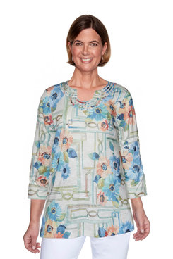 Image: Petite Windowpane Floral Top