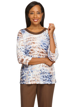 Image: Petite Women's Animal Print With Suede Trim Lightweight Knit Top