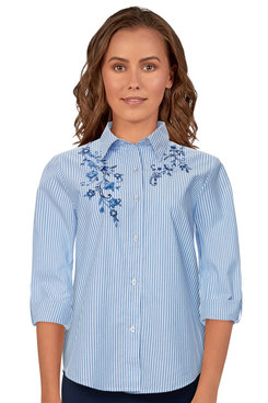 Image: Petite Women's Button-Front Striped Floral Embroidered Lightweight Top