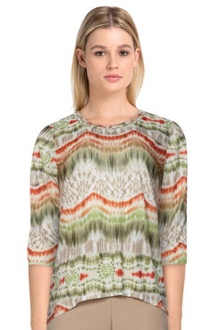 Image: Petite Women's Casual Boho Striped Soft Knit Top