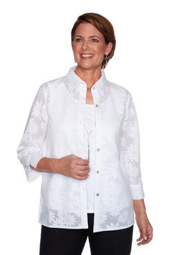 Image: Petite Women's Casual Daisy Two-For-One Top With Necklace