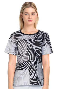 Image: Petite Women's Casual Leaf Print Soft Knit Short Sleeve Top