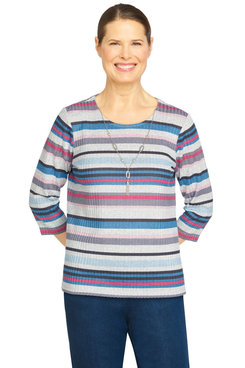 Image: Petite Women's Casual Ribbed Knit Striped Top