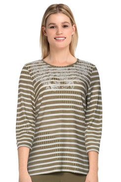 Image: Petite Women's Casual Ribbed Striped Embroidered Knit Top
