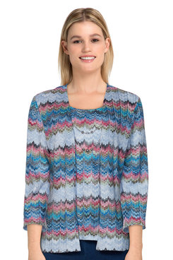 Image: Petite Women's Casual Textured Two-For-One Top With Necklace