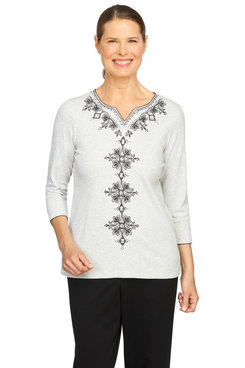 Image: Petite Women's Center Embroidered Soft Knit Top