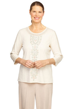 Image: Petite Women's Center Embroidery Soft Knit Top With Lace Details