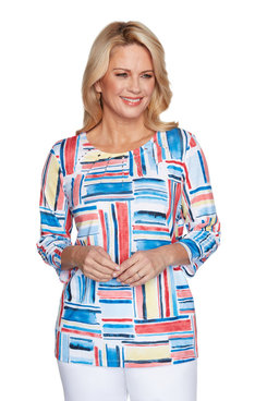 Image: Petite Women's Colorful Print Three-Quarter Sleeve Top