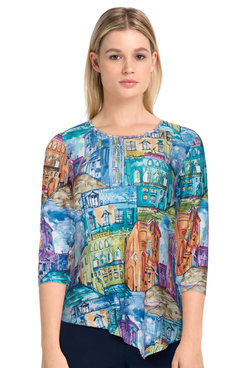 Image: Petite Women's Colorful Scenic Knit Asymmetrical Top