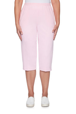 Image: Petite Women's Comfort Lightweight Knit Relaxed Fit Pull-On Capri