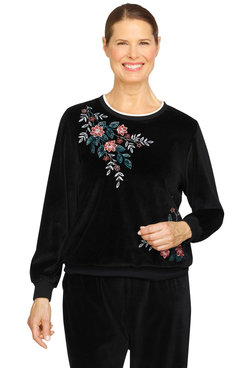 Image: Petite Women's Comfort Velour Floral Embroidered Lightweight Pullover