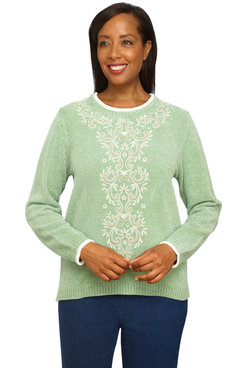 Image: Petite Women's Comfy Chenille Center Embroidery Soft Sweater