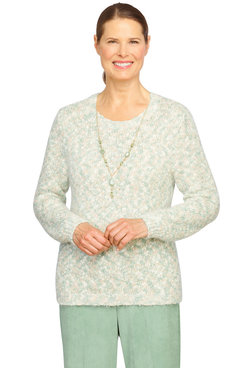 Image: Petite Women's Comfy Textured Lightweight Sweater With Necklace