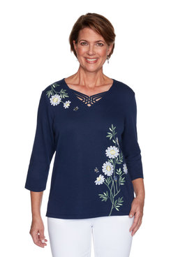 Image: Petite Women's Daisy Embellished Top With Strappy Neckline