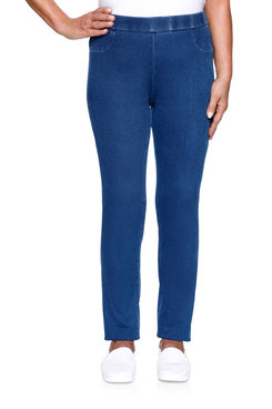 Image: Petite Women's Denim Slim Fit Stretch Knit Jegging