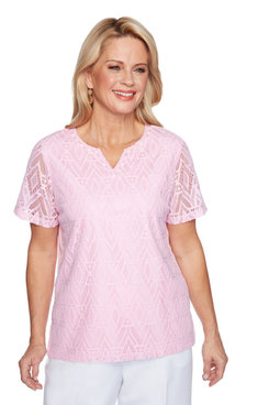 Image: Petite Women's Diamond Lace Short Sleeve Top