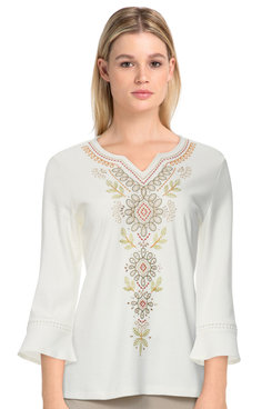 Image: Petite Women's Embroidered Bell Sleeve Soft Knit Top