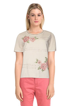 Image: Petite Women's Embroidered Flowers Short Sleeve Sweater