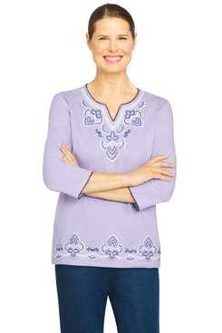 Image: Petite Women's Embroidered Yoke And Border Lightweight Knit Top