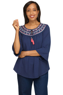 Image: Petite Women's Embroidered Yoke Bell Sleeve Soft Knit Top