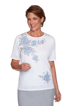 Image: Petite Women's Floral Applique Short Sleeve Sweater