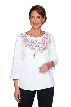 Image: Petite Women's Floral Embroidered Knit Top