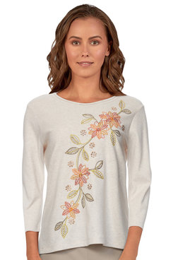 Image: Petite Women's Floral Embroidered Soft Knit Top