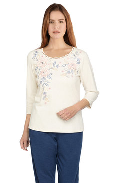 Image: Petite Women's Floral Embroidered Yoke Lightweight Knit Top