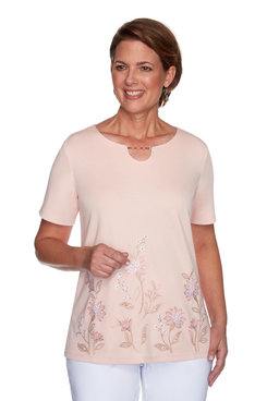 Image: Petite Women's Floral Embroidery Short Sleeve Top