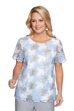 Image: Petite Women's Floral Lace Body-Lined Short Sleeve Top