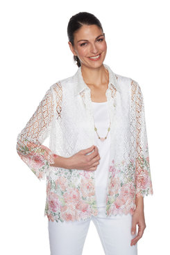 Image: Petite Women's Floral Lace Two-For-One Top