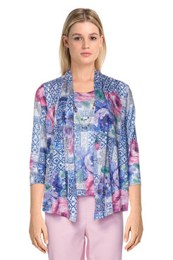 Image: Petite Women's Floral Patchwork Print Two-For-One Top With Necklace