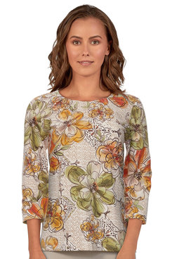 Image: Petite Women's Floral Print Lightweight Embellished Knit Top