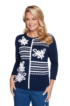 Image: Petite Women's  Floral Ribbon Applique Sweater