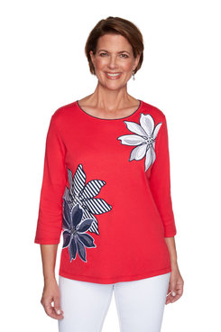 Image: Petite Women's Floral Striped Applique Top