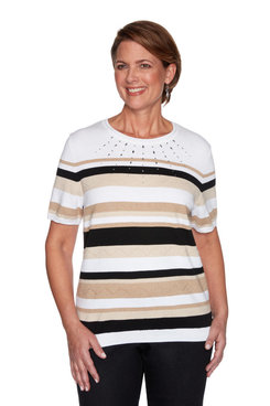 Image: Petite Women's Gradient Striped Short Sleeve Sweater