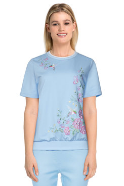 Image: Petite Women's Hummingbird Embroidered Short Sleeve Top