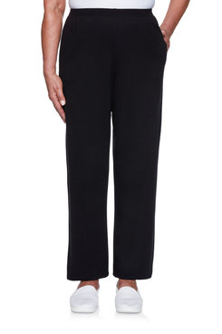 Image: Petite Women's Knit Straight-Leg Short Length Pant