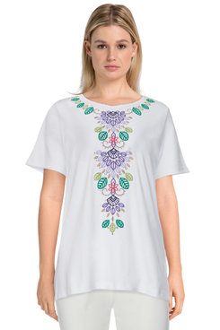 Image: Petite Women's Leaf Embroidered Short Sleeve Soft Knit Top