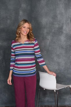 Image: Petite Women's Lightweight Ribbed Knit Striped Print Top