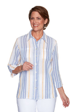 Image: Petite Women's Lightweight Striped Button-Front Shirt