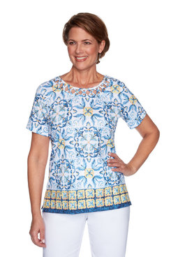 Image: Petite Women's Medallion Print Top With Strappy Neckline