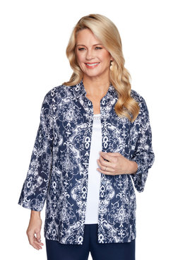 Image: Petite Women's Medallion Print Two-For-One Shirt