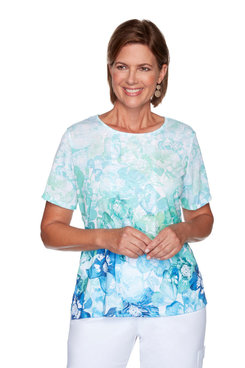 Image: Petite Women's Monotone Ombre Flowers Print Short Sleeve Top